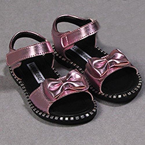 Oasap Girl's Fashion Peep Toe Velcro Flat Bow Sandals silver
