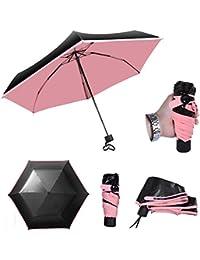bravetzx Mini Paraguas de Tamaño de Bolsillo, Plegable Ultra-luz Paraguas Anti-UV Cinco Paraguas de Viaje Plegable Cubierta de Protección solar Paraguas Fuerte Resistente al Viento estudiante Paraguas Paraguas