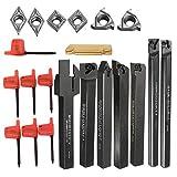 7 soportes para barra de aburrimiento + 7 piezas de carburo insertar herramientas de giro + 7 llaves para semi-acabado y acabado