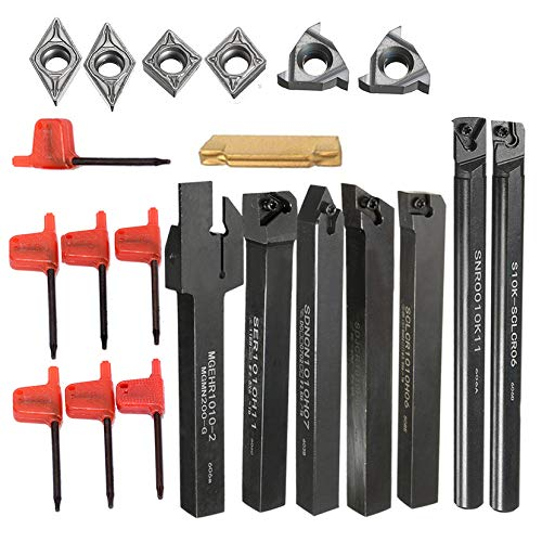 7PCS Boring bar Holder + 7PCS carburo inserto tornio strumenti + 7PCS chiave per semi-finishing e finitura