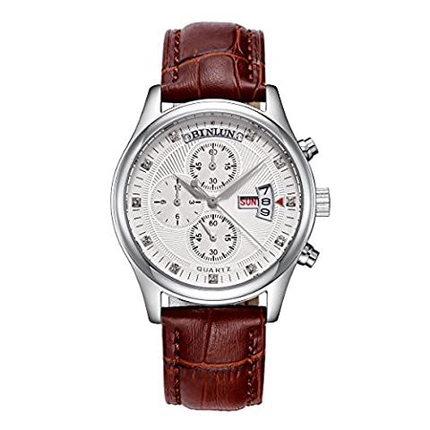 Binlun Brown Leather Strap Mens Tactical Analog 24 Hours Display World Time Japan Quartz Bracelet Watch