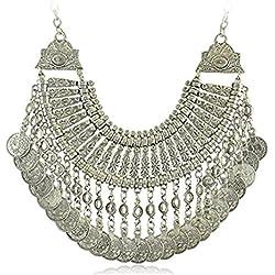 idealway Boho étnico Turco India Tribal Gitana Moneda de Plata Chic declaración Collar de Chunk