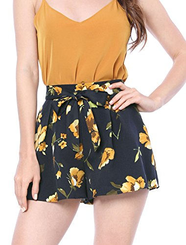 Allegra K Ladies' Floral Print Boho Beach Elastic Waist Summer Shorts