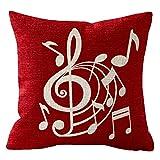 NIDITW Nice Musiker Geschenk mit Musik Mark Body Rot Baumwolle Leinen Überwurf Kissenbezug Sofa Home Decor Quadratisch 45,7cm