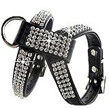LIZONGFQ Hundehalsband Harness Kristall Diamant Haustier PU Leder für Haustier einstellbar Bling Strass Kragen Pet Produkte,Black,M