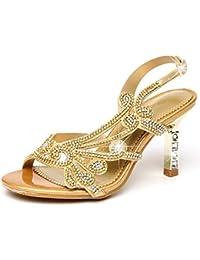 Mujeres Peep Toe Block Tacones Altos Slingback Correas Wedding Prom Party Zapatos De Novia