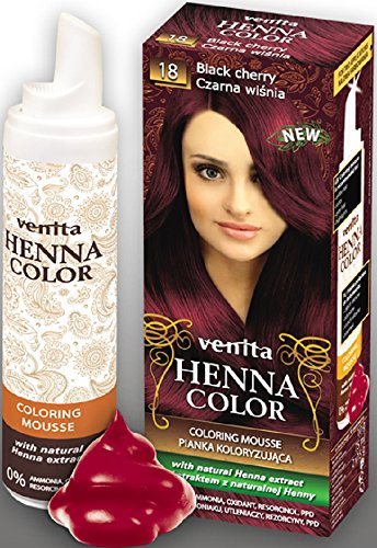 Venita Henna Color Coloring Mousse Schaumcoloration Servicepackung Schwarzkirsche (Black Cherry) Nr. 18