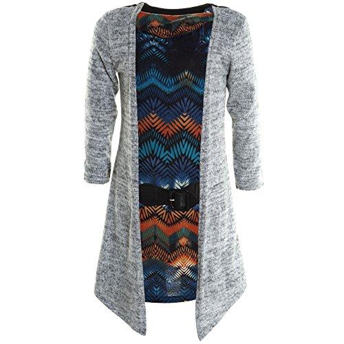 BEZLIT Mädchen Cardigan Kleid Longshirt Bluse Langarm Shirt Longsleeve Sweatshirt 20795 Grau Größe 152