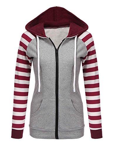 Chigant Damen Kapuzenpullover Sweatshirt Sweatjacke Streifen Patchwork Jacke für Herbst Winter XL Weinrot