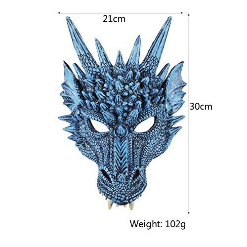 Kostüm Besten Teen - MOCRIS 4D Dragon Mask Halbe Gesichtsmaske für Kinder Teens Halloween Kostüm Party Dekorationen