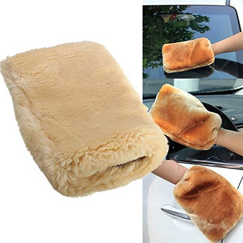 Preisvergleich Produktbild Oasislove 1x 24x 16cm Lammwolle Waschhandschuh Weiches Schaffell Auto Reinigung Handschuhe