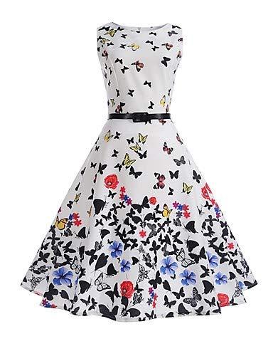YFLTZ Frauen Arbeit Urlaub Vintage Baumwolle Mantel Swing Kleid - Floral White Butterfly hohen Anstieg, weiß, M Vintage Swing Mantel