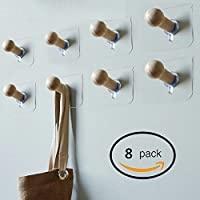 Sendida 3M Adhesive Wall Hooks - 8 Pack No Drills Wooden Hat Hooks Storage Wall Mounted Coat Hanging Hook for Coat Towel Hat Key Robe Hooks On Door Wardrobe Closet …