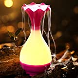 GPLAN 95ml Aromas Mist ultrasonidos humidificador eléctrico Aromas Jade Jarrón Aromaterapia Difusor aceites esenciales con luz nocturna LED For Yoga, Spa, Office, Room(Rosa)