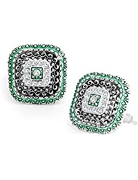 Sukkhi Wedding Jewellery Stud Earrings for Women (Green) (E78696_D1)