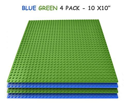 Grundplatten (4 Stück, je 25 cm x 25 cm) in blau und grün, kompatibel mit Hauptspielblockmarken; hervorragende Spielqualität für Kinder. - Grundplatten Lego Großen