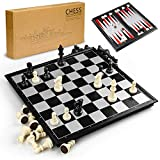 GiBot 3 in 1 Chess Board Set, 31.5CM x 31.5CM Magnetic Chessboard with Chess, Checkers, Backgammon for Kids and Adult, Foldable and Portable Game Board for Travel, Black and White