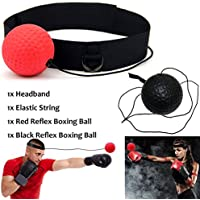 Xnature Reflex Boxing Ball, Fight Reflex Ball on String with Headband for Fight MMA Training Speed Reactions Adult/Kids Improve Punch Focus Sport Exercise Practice Fitness Elastic Rope Head Band Set