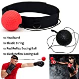 Xnature Boxen Training Ball Reflex Fightball Speed Fitness Punch Boxing Ball mit Kopfband, Trainingsgerät Speedball für Boxtraining Zuhause und Outdoor (Schwarz + Rot)