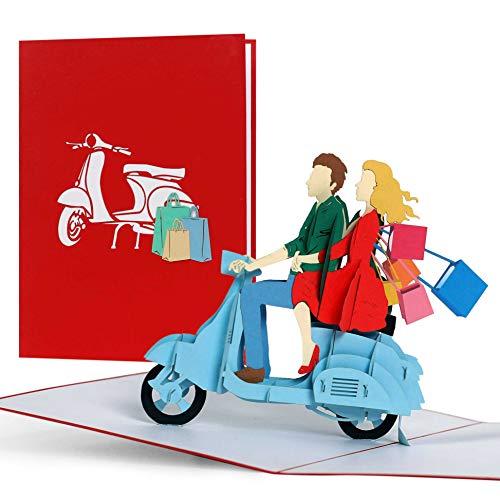Regalo di Natale per le donne, shopping trip buoni regalo mamma, regali o idee regalo per lei, moglie, Best Friend, Mummy, 3D Pop Up card, vespa, H18