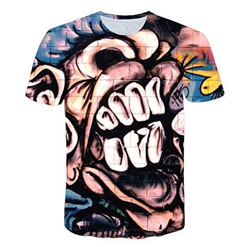 DUANXIUGE Mens Cool Dj Hip Hop T-Shirts Männlich Abstrakt Graffiti Print Kurzarm T-Shirts Hochwertige Und Elastische Top -