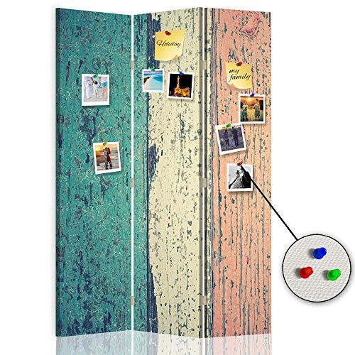 Feeby Biombo Opaco Abstracción Corcho 3 Paneles Unilateral Vintage Re