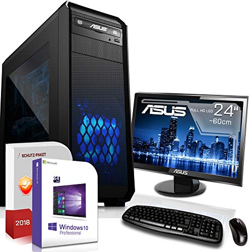 Multimedia Gaming PC mit Monitor AMD A10-7800 4x3.5GHz |ASUS Board|24 Zoll TFT|8GB DDR3|120GB SSD + 1000GB HDD|Radeon R7 Series HDMI|DVD-RW|USB 3.0|SATA3|Sound|Windows 10 Pro|GigabitLan|3 Jahre Garant