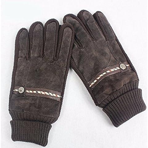 KHSKX Inverno coreano di maiale imbottita guanti e cashmere autunno/inverno giorni caldi uomini maglia di cucitura a guanti in cuoio, marrone