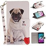 Qiaogle Téléphone Coque - PU Cuir rabat Wallet Housse Case pour Samsung Galaxy A5 (2016) / A5 (2016) Duos / A510 (5.2 Pouce) - TX84 / Pug Dog