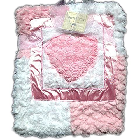Mini Muffin Baby Blanket pink and white patchwork rose swirls rosetted framed heart by Mini Muffin