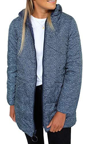 Reversible Jacke (Spec4Y Damen Daunenjacke Kapuzen Mantel Reversible Übergangsjacke Langarm Wattiert Jacke Parka Coat Steppjacke mit Reißverschluss Blau S)