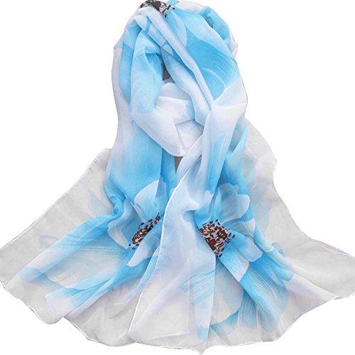 Schal Damen, LANSKIRT Frauen weicher dünner Chiffon- Silk Schal Blumen Bedruckte Schals Wrap-Schal 160cm x 50cm (Hellblau) -