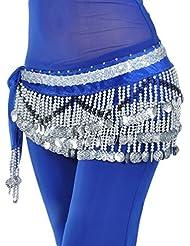 YiJee 3 Filas Danza del Vientre Baile Hip Bufanda Falda Cinturón con 258 Monedas