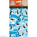 Teo & Zina Pinguine und Fische-Brett Wandtattoo, Filz, Mehrfarbig, 9,5x 18,5x 0,2cm