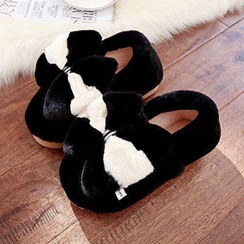 DogHaccd pantofole,In inverno il cotone pantofole donna bella calda spessa coperta pacchetto con uomini antiscivolo scarpe coppie autunno e inverno Nero4