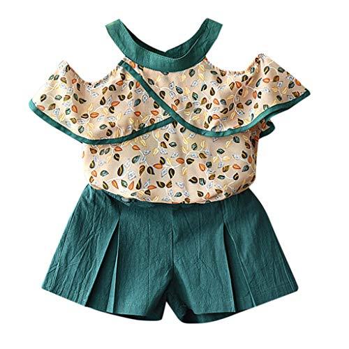 JUTOO 2 Stücke Set Kleinkind Kinder Baby Mädchen Outfits Kleidung Chiffon Druck T-Shirt Tops + Shorts Set ()