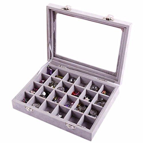 Velvet Glasschmuck Ring anzeigen Organizer Box-Behaelter-Halter Ohrring-Speicher-Fall (Case Display Box Speicher)