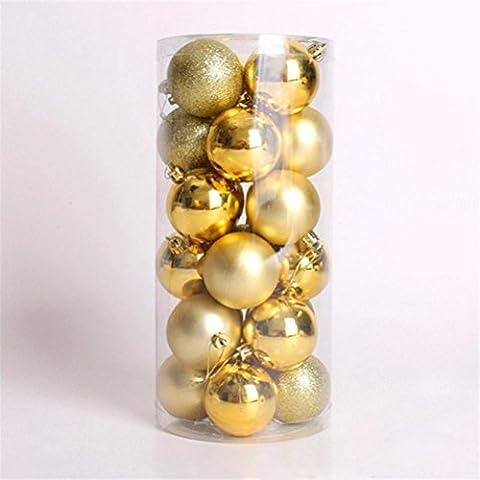 UEETEK 24pcs inastillable brillante Navidad bolas adornos para la decoración de Navidad árbol vacaciones Navidad jardín (oro)