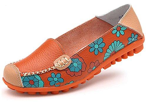NEWZCERS Beiläufiger weicher rutschfester alleiniger Blumendruck Belag auf flachen gehendes loafers, das flache Schuhe für Frauen antreibt Orange