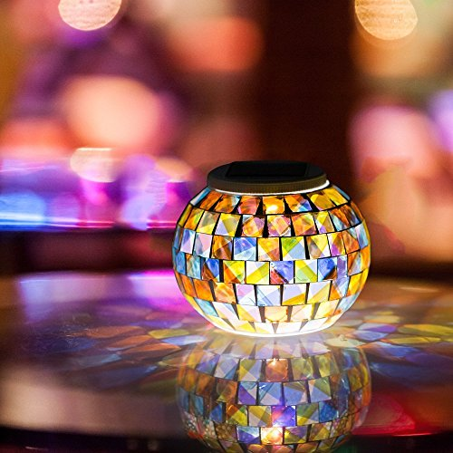 Solar Powered Mosaic Glass Ball Garden Lights, Color Changing Solar Table Lamps, Waterproof Solar Outdoor Lights for Parties Decorations, Christmas, Ideal Gifts--5.12 Inch in Diameter, 4.13inch (Coloured Glaze)