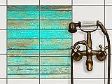 creatisto Küche Bad Fliesentattoo | Fliesendeko Badezimmer-Fliesen Fliesenmotiv Badezimmerdeko | 20x15 cm Muster Ornament Wooden Aqua - 6 Stück