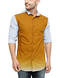SHOWOFF Men's Cotton Full Sleeve Slim Fit Printed Casual Shirt (BlueValley2642_Brown)