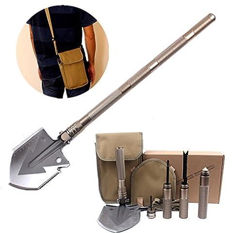 HEANTTV Survival Schaufel-Kit mit Multi-Tools Kompass Messer Säge Firestarter Schraubendreher