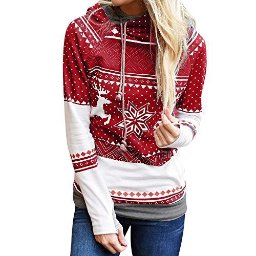 Merry christmas women dots elk fiocco di neve felpe grazioso stampa con cappuccio pullover con cappuccio camicetta party clubbing outing dating outwear (color : rot, size : m)