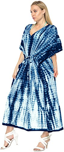 robe kimono à long caftan tunique robe top maxi couvrir beachwear maillot de bain cravate hawaïen colorant caftan bleu marin