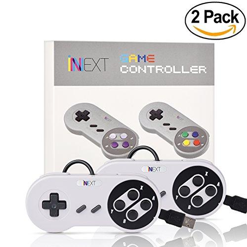 iNNEXT 2x Retro USB Controller SNES Gamepad für PC Mac OS Raspberry pi (White/Black Keys)