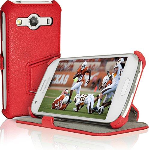 igadgitz U3538 Custodia PU Pelle per Samsung Galaxy Ace 4 SM-GT357FZ Libro Cover - Rosso