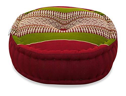 livasia Zafukissen der Marke Asia Wohnstudio, Yogakissen mit kostbarer Kapokfüllung für Yoga und Meditation, rundes Sitzkissen BZW. Bodenkissen (rot/grün)