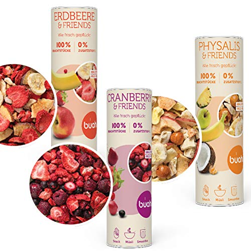 BUAH® I Gefriergetrocknet Früchte I Trockenobst ungezuckert I Wellness Geschenk-SET für Frauen & Männer I Getrocknete Früchte Snacks (3x 23-32g) -