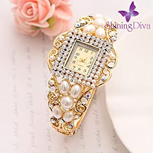 Shining Diva Fashion Luxury 18k Gold Plated Pearl Crystal Quartz Wrist Watch Bracelet for Girls and Women 2